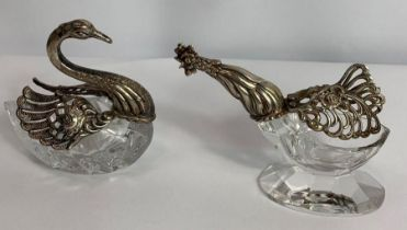 A glass cockerel salt, with folding wings, stamped