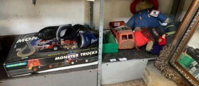 2 shelves of childrens toys, Scalextrics Monster T