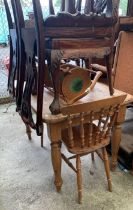 Pine kitchen table with 2 chairs & cake stand