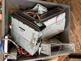 Box of car radios including Alpine