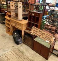 Small pine hall table, 2 pine shelving units, cd rack,