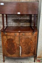 Drop leaf table along with a bow fronted sideboard