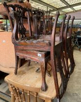 4 mahogany carved dining chairs with ball