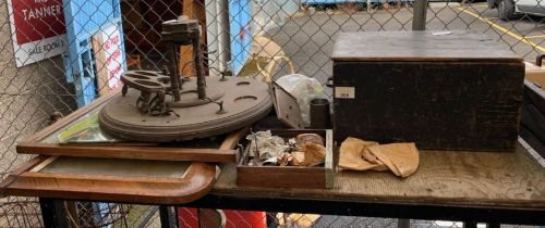 Wooden box with hinges etc, 3 mirrors, metal desk