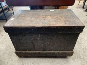 Black painted wooden trunk on later casters
