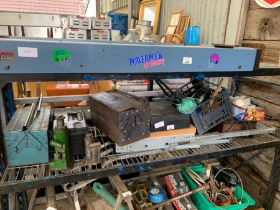 Shelf of items to include toolboxes, bench light,