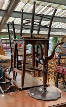 WITHDRAWN 2 drop leaf tables, 2 rush seated chairs