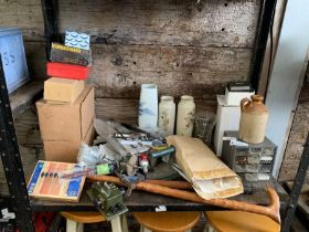 Shelf of items to include vases, earthenware pot,