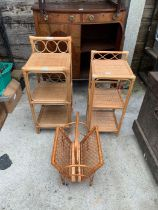 2 bamboo side tables & a bamboo magazine rack