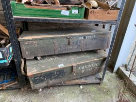 2 wooden boxes on later casters