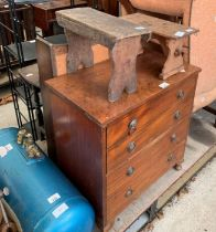 Commode cabinet, 2 stools, small bookcase, folding