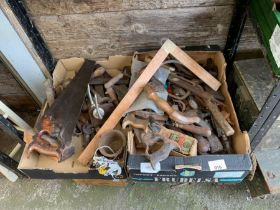 2 boxes of saws, planes & various wood working tool