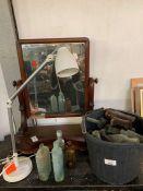 Angle poise lamp, mahogany dressing table mirror &