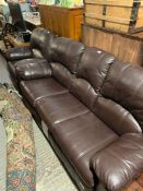 3 seater leather G Plan settee along with matching