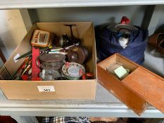 Crate of fishing reels, floats, camping equipment