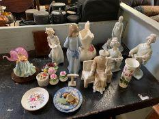 Various ceramics to include Lladro, Nao, Portmeiri
