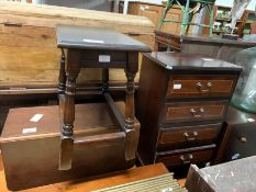 Oak drop side table along with a modern 4 drawer b