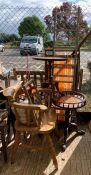 3 tripod side tables, deck chair, ladder, desk mi