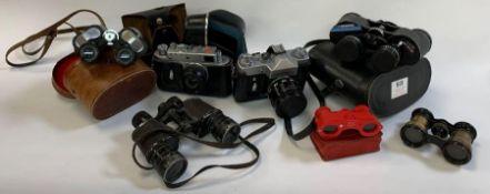Collection of vintage cameras & binoculars