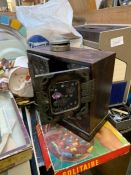 Collectables to include teak desk lamp, oak barrel