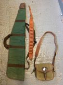 Shotgun slip case, 12 G cartridge belt & a cartrid