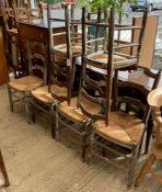 Set of 6 ladder back dining chairs with rattan sea
