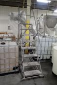 Tri-arc 8 step rolling warehouse ladder