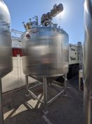 APV 1000 gallon SS Jacketed Tank with top agitation and side sweep