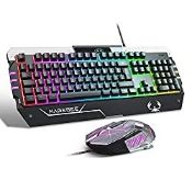RGB Gaming Keyboard and Mouse Set (UK Layout) Rainbow LED RGB Backlit Wired Keyboard for Xbox o