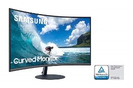 (BROKEN SCREEN) RRP £237.00 Samsung T55 Curved Monitor, 32 Inch, 1000R, 75hz