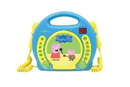 Lexibook Peppa Pig Georges CD player for kids with 2 toy microphones, headphones jack,