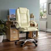 RRP £81.00 Vida Designs Charlton Executive Office Computer Chair, Cream, Gaming Adjustable Swivel
