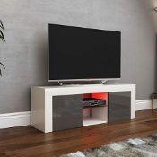 RRP £83.00 Vida Designs Eclipse LED TV Unit 2 Door Modern Gloss Matte MDF Living Room Cabinet Med
