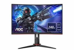 RRP £287.00 (BROKEN SCREEN) AOC Gaming C32G2ZE - 32 Inch FHD Curved Monitor, 240Hz, 1 ms MPRT, VA