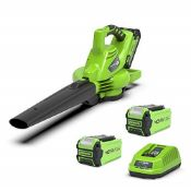 RRP £210.00 Greenworks Cordless Vacuum Cleaner and Leaf Blower 2in1 GD40BVK2X (Li-Ion 40 V 185 km/