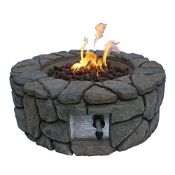 RRP £237.00 Peaktop Round 28inch Fire Pit, Stone Grey