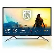 RRP £462.00 [BROKEN SCREEN] Philips Monitors 436M6VBPAB - 43 Inch 4K Gaming Monitor, HDR 1000, Qua