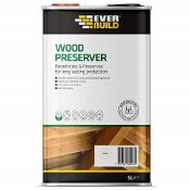 Everbuild EVBLJCR05 Quick Drying, Long Lasting, Wood Preserver, Clear, 5 Litre