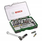 Bosch 27-Piece Screwdriver Bit and Ratchet Set (Extra Hard Quality, Drill Driver and S