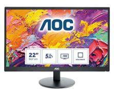 RRP £63.00 [BROKEN SCREEN] AOC E2270SWHN - 22 Inch FHD Monitor, 60Hz, TN, 5ms, Vesa mount, Tilt,