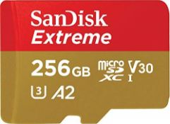 RRP £61.00 SanDisk Extreme 256 GB microSDXC Memory Card + SD Adapter with A2 App Performance + Re