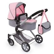 RRP £61.00 Bayer Design 18108AA Doll's Pram City Neo with Changing Bag and underneath shopping ba
