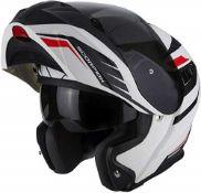 RRP £166.00 Scorpion EXO 920 Shuttle Matt Motorcycle Helmet, White/Black/Red, Size XS