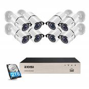 RRP £376.00 ZOSI 5MP POE CCTV Camera Systems 8pcs 5MP Metal Bullet IP Cameras 8CH 5MP H.265+ Ultra