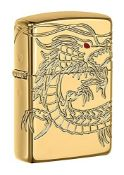 RRP £169.00 Zippo Armor Chinese Dragon Windproof Pocket Lighter - High Polish Gold Plate