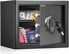 [CRACKED] 16.9L Security Safe Cash Box,WASJOYE Cabinet Safe with Double Digital Keypad