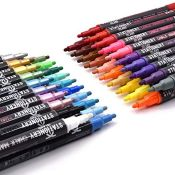 Stationery Island Chalk Pens W30 Pack Of 40 Assorted Colours  3mm Fine Bullet Nibs.