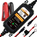 MOTOPOWER MP00205A 12V 800mA Fully Automatic Battery Charger/Maintainer for Cars, Moto