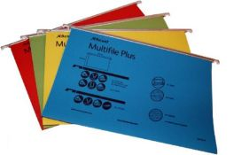 Rexel Foolscap Suspension Files with Tabs and Inserts for Filing Cabinets, 15 mm V-bas