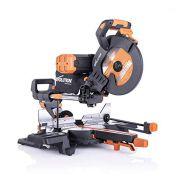 RRP £249.00 Evolution Power Tools R255SMS-DB+ Double Bevel Multi-Material Sliding Mitre Saw with P